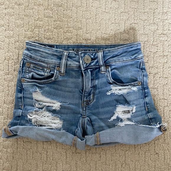 AE Ripped Denim Shorts